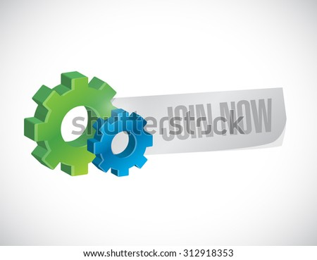 Join Now industrial sign concept illustration design graphic - stock photo