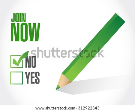 Join Now negative check mark sign concept illustration design graphic - stock photo