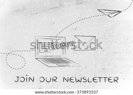 join our newsletter: email envelope coming out of laptop screen with a screen - stock photo