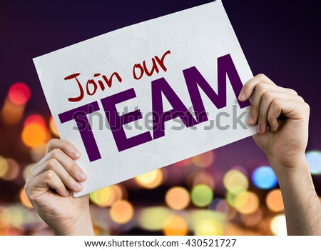 Join Our Team placard with night lights on background - stock photo