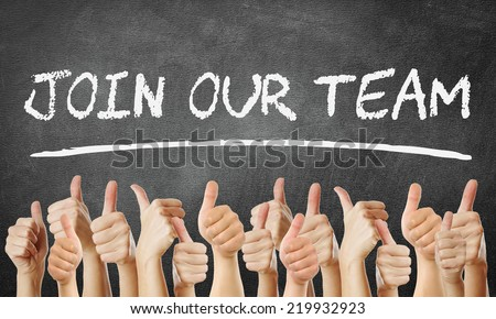 Join our Team - thumbs up - stock photo