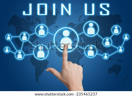 Join us concept with hand pressing social icons on blue world map background. - stock photo