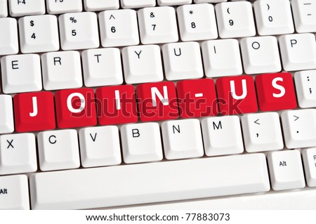 Join-us word on white keyboard - stock photo