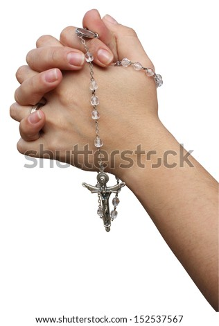 Joined hands in prayer with rosary - stock photo