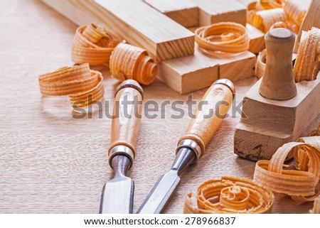 joinery tools chisels and plane  - stock photo