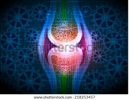 Joint anatomy, gears blue technology background - stock photo