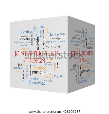 Joint Application 3D Illustration Word Cloud Concept with great terms such as workflows, meetings, projects and more. - stock photo