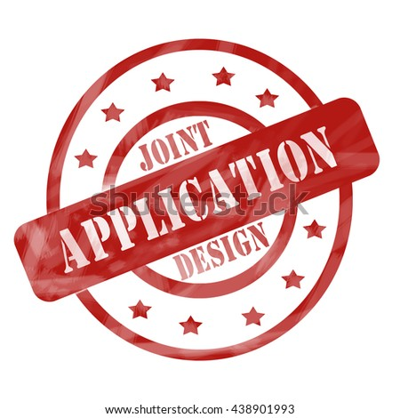Joint Application Design Red Circles and Stars Stamp making a great concept. - stock photo