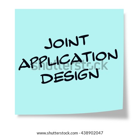 Joint Application Design written on a square blue sticky note - stock photo