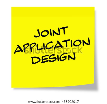 Joint Application Design written on a square yellow sticky note - stock photo