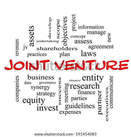 Joint Venture Word Cloud Concept with great terms such as business, partner, finance and more. - stock photo