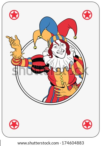 Joker coming out of circle playing card - stock photo