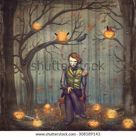 Joker  in a fairytale forest among trees and scary halloween pumpkins - stock photo