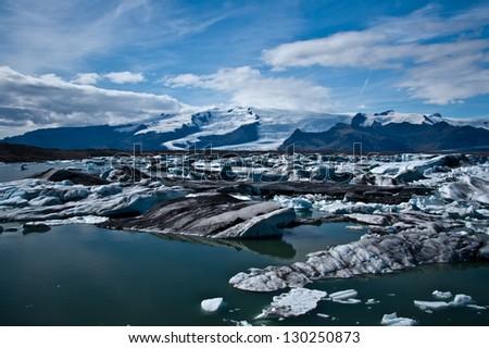 jokulsarlon glacier lagoon in Iceland - stock photo