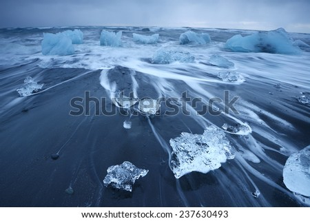 Jokulsarlon iceberg beach in south iceland - stock photo