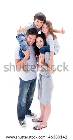 Jolly parents giving their children piggyback ride against a white background - stock photo