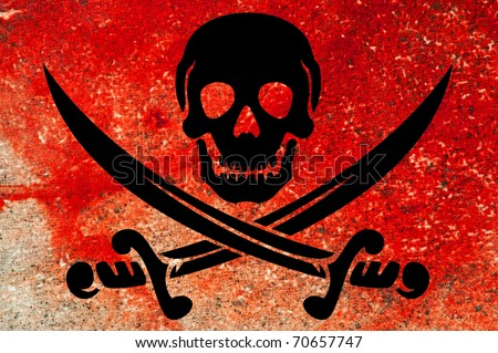 """Jolly Rodger Pirate themed concept, """"blood like"""" background - stock photo"""