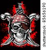 Jolly Roger, a pirate symbol with crossed daggers and a rope on the black and red background. Raster version - stock photo