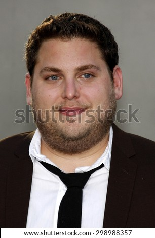 Jonah Hill at the Los Angeles premiere of 'Funny People' held at the ArcLight Cinemas in Hollywood on July 20, 2009.   - stock photo