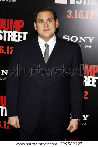 Jonah Hill at the Los Angeles premiere of '21 Jump Street' held at the Grauman's Chinese Theater in Hollywood on March 13, 2012.  - stock photo