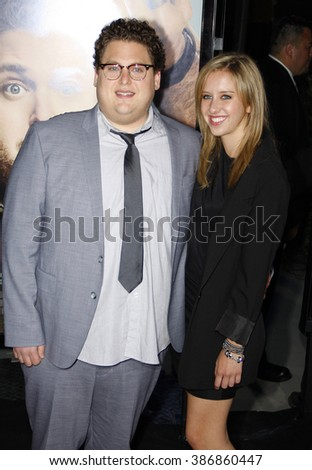 "Jonah Hill at the World premiere of ""Get Him To The Greek"" held at the Greek Theater in Hollywood, California, United States on May 25, 2010. - stock photo"