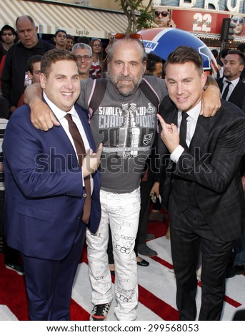 """Jonah Hill, Peter Stormare and Channing Tatum at the Los Angeles premiere of """"22 Jump Street"""" held at the Regency Village Theatre in Los Angeles, United States, 100614.  - stock photo"""