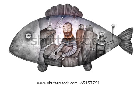 Jonah in the belly of the fish - stock photo