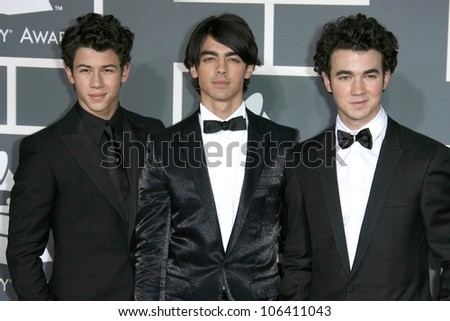 Jonas Brothers at the 51st Annual GRAMMY Awards. Staples Center, Los Angeles, CA. 02-08-09 - stock photo
