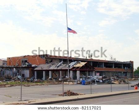 Joplin High School in aftermath of Joplin Tornado - stock photo