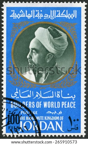 JORDAN - CIRCA 1967: A stamp printed in Jordan shows Portrait of King Abdullah I of Jordan (1882-1951), series Builders of World Peace, circa 1967 - stock photo