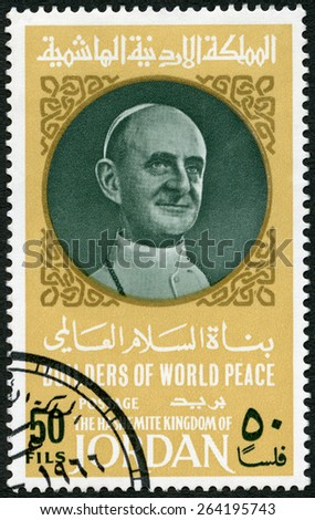 JORDAN - CIRCA 1967: A stamp printed in Jordan shows Portrait of Pope Paul VI (1897-1978), circa 1967 - stock photo