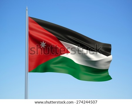 Jordan 3d flag floating in the wind with a blue sky background - stock photo