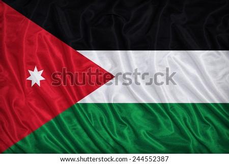 Jordan flag pattern on the fabric texture ,vintage style - stock photo