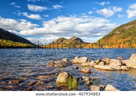 Jordan Pond in Acadia National Park, Maine, USA - stock photo