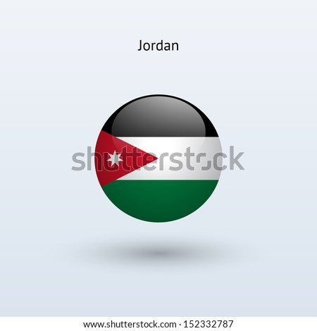 Jordan round flag on gray background. See also vector version. - stock photo
