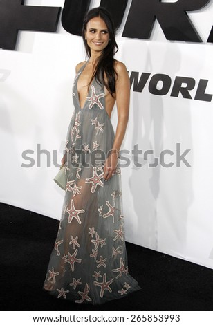 Jordana Brewster at the Los Angeles premiere of 'Furious 7' held at the TCL Chinese Theatre IMAX in Hollywood, USA on April 1, 2015.  - stock photo
