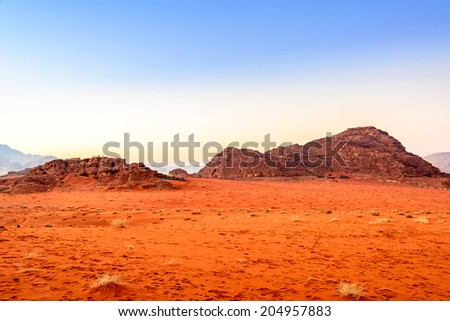 Jordanian desert at a morning in Wadi Rum, Jordan. - stock photo