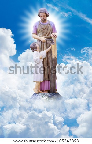 Joseph and Jesus on the heaven : Elements of this image furnished by NASA - stock photo