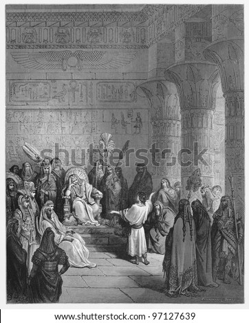 Joseph interprets Pharaoh's dream - Picture from The Holy Scriptures, Old and New Testaments books collection published in 1885, Stuttgart-Germany. Drawings by Gustave Dore. - stock photo