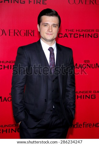 "Josh Hutcherson at the Los Angeles premiere of ""The Hunger Games: Catching Fire"" held at the Nokia Theatre L.A. Live in Los Angeles on November 18, 2013. - stock photo"