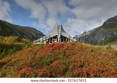 Jostedalen Glacier Cente. Breheimsenteret - National Park. Visitors Centre - museum. Jostedal Glacier National Park. Nigardsbreen, Norway. September 25, 2015 - stock photo