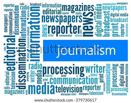 Journalism in word collage - stock photo