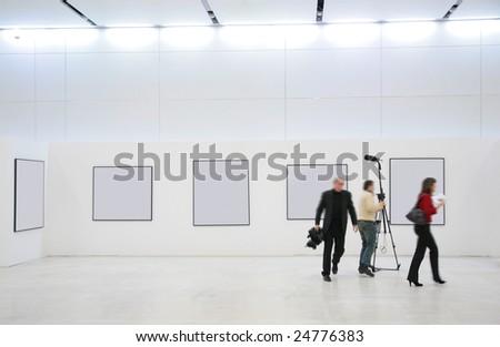 Journalists on exhibition - stock photo