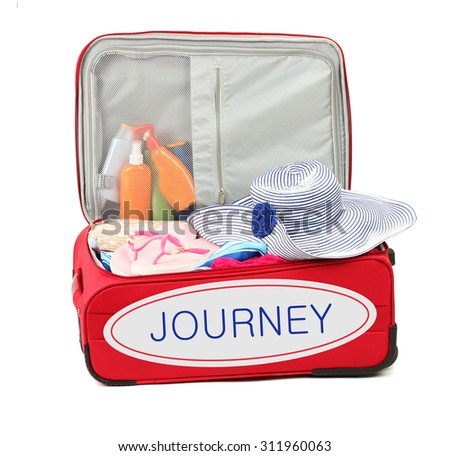 Journey concept. Suitcase with summer clothes, hat and suntan isolated on white - stock photo