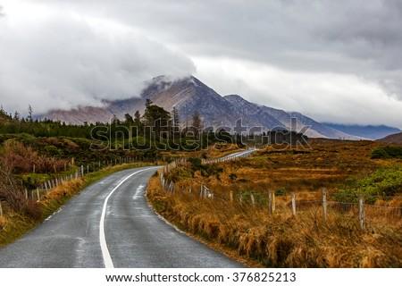 Journey on wild atlantic way in Connemara in Ireland - stock photo