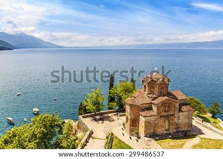 Jovan Kaneo Church on beautiful sunny day at Lake Ohrid, Macedonia. - stock photo