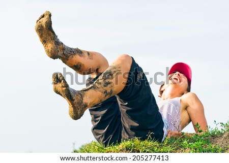 joy and dirty feet - stock photo