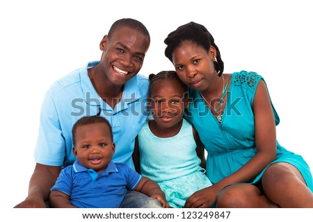 joyful african american family isolated on white - stock photo