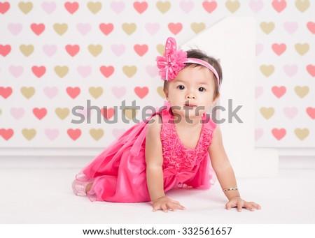 Joyful baby girl - stock photo