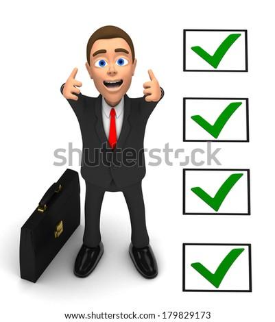 joyful businessman on white background - stock photo